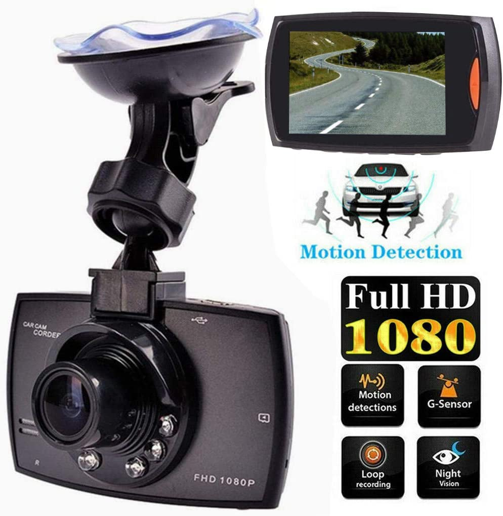 HD 1080P Car DVR Vehicle Camera Video Recorder Dash Cam Night Vision 2.4 inch (Black)