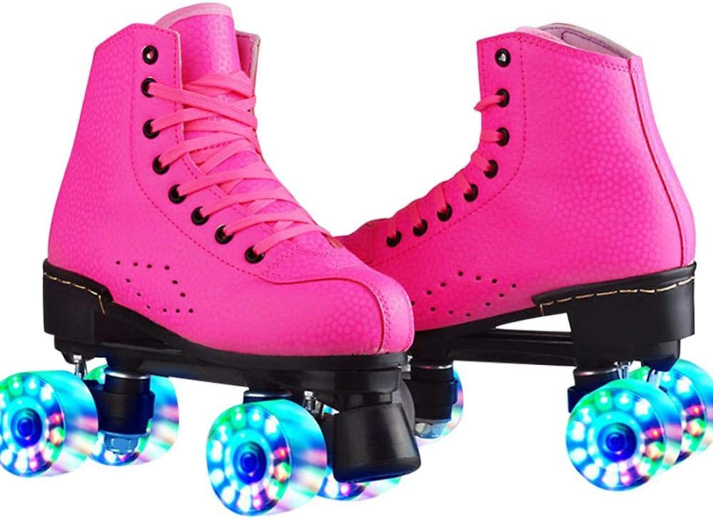 jessie Classic Leather Womens Roller Skates Adjustable High-top Roller Skates Four-Wheel Roller Skates Outdoor and Indoor for Adults Girls Boys