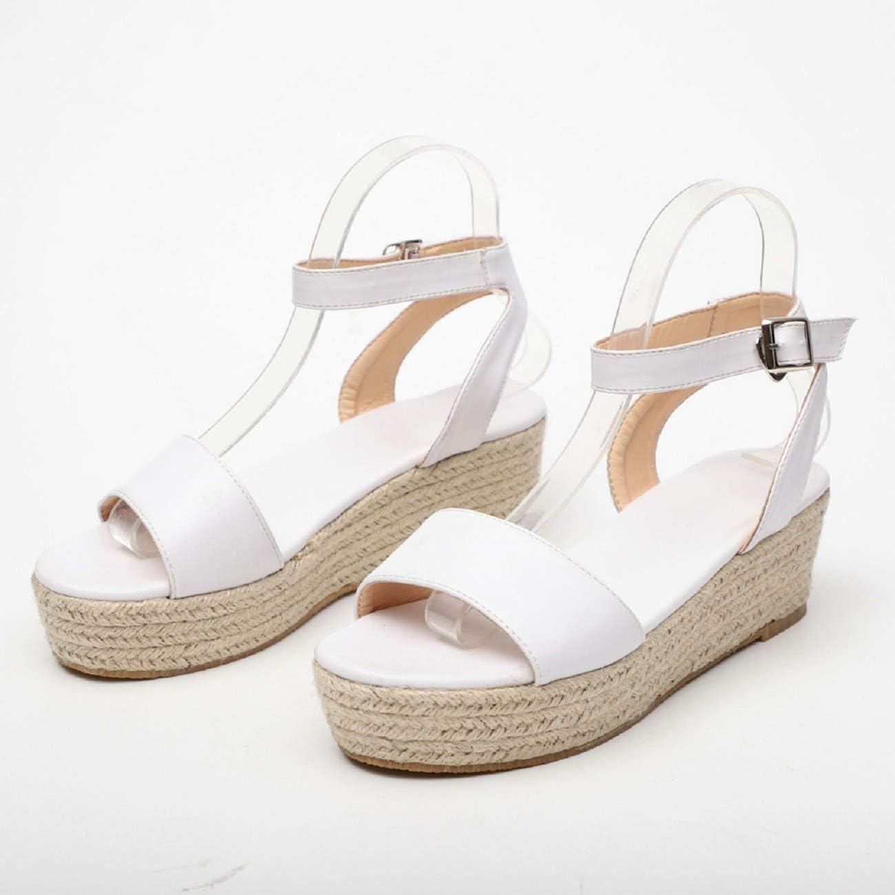 FAPIZI Ladies Summer Espadrille Heel Platform Wedge Sandals Ankle Buckle Closed Toe Shoes Women High Wedges Sandals