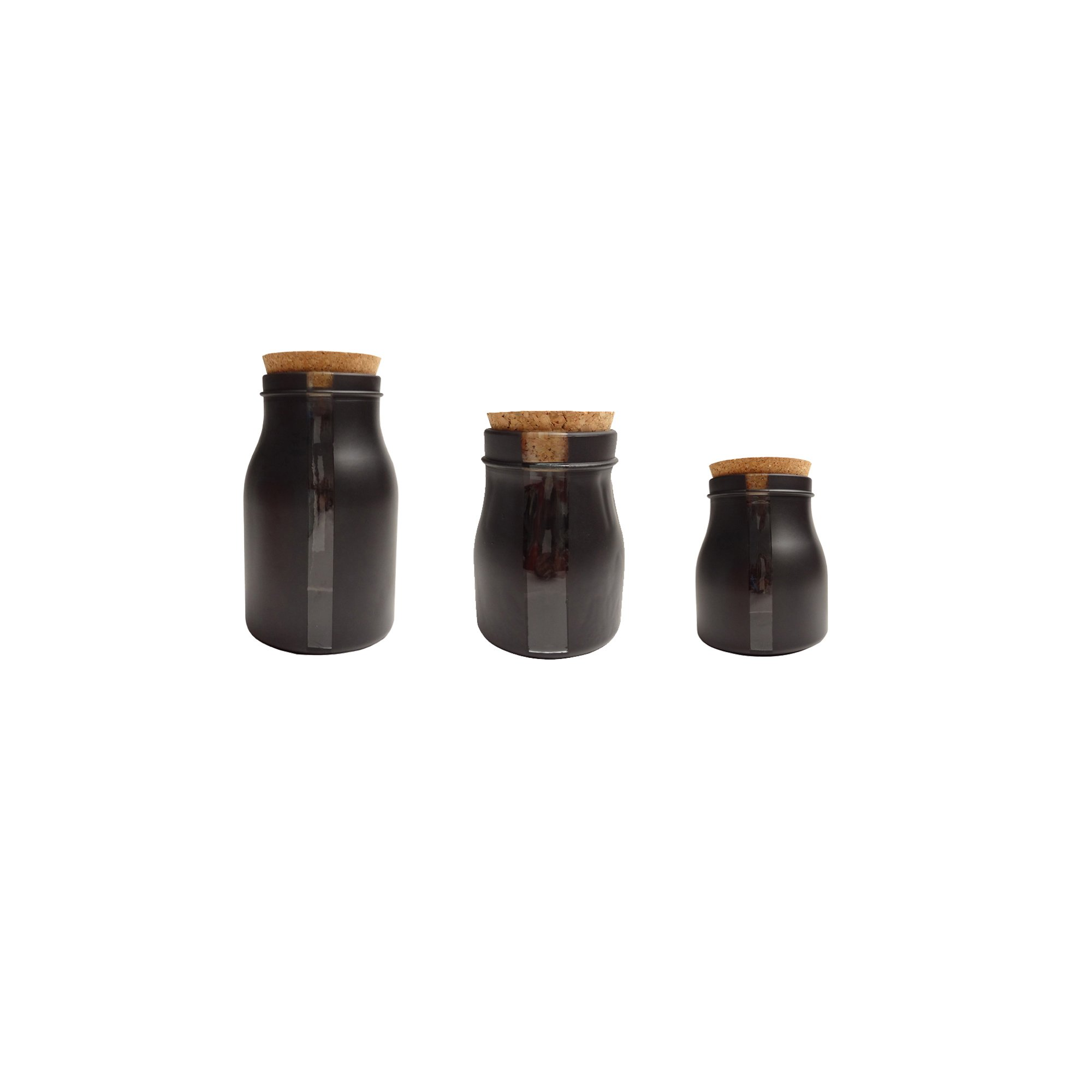 French Home Set of 3, 68-ounce,40-ounce,8.5-ounce Black Vertical Window Jars