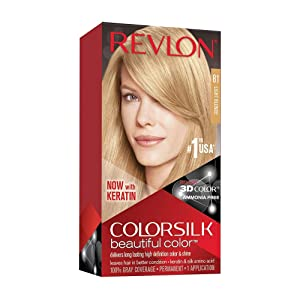 Revlon Colorsilk Beautiful Color, Permanent Hair Dye with Keratin, 100% Gray Coverage, Ammonia Free, 81 Light Blonde
