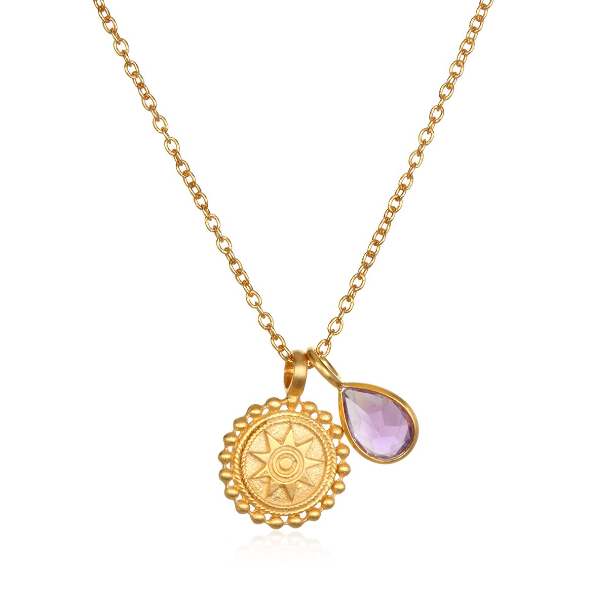Satya Jewelry Womens Mandala Amethyst Birthstone Pendant Necklace 16-Inch +2-Inch Extension, Purple, One Size