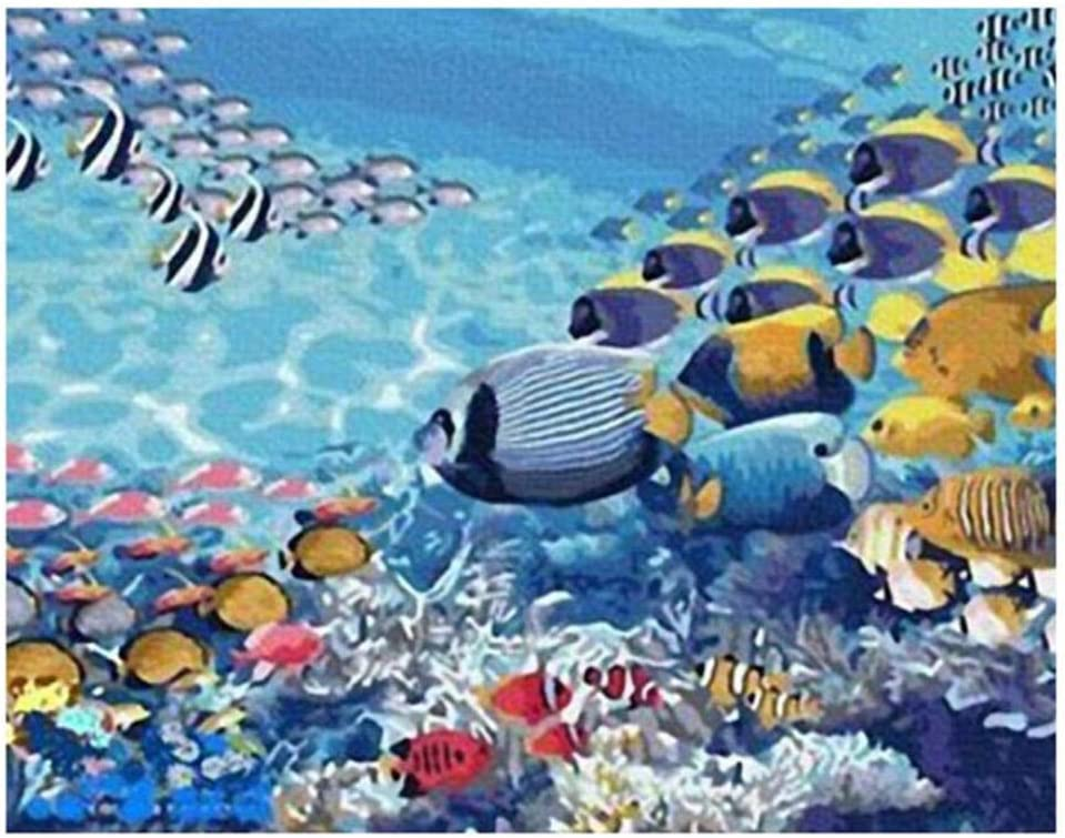 Kit per Dipinto a Olio su Tela Fai da Te Dipingere con i Numeri per Adulti e Bambini Vernice di Numero 40 x 50 cm Senza Telaio Astratto Fondale Marino Pesce Corallo