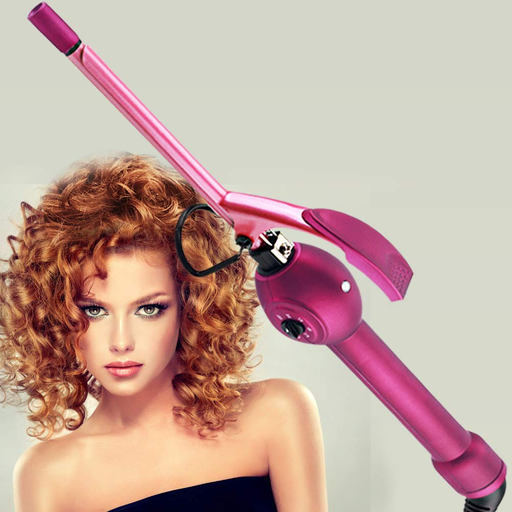 Professional Curling Iron 9mm Unisex Hair Curler Small Curls Tourmaline Ceramic Wand Thin Small Barrel Curling Iron Tight Curls for Men Women, Heats Up Fast, Temp Adjustable, Purple BLUETOP by BLUETOP
