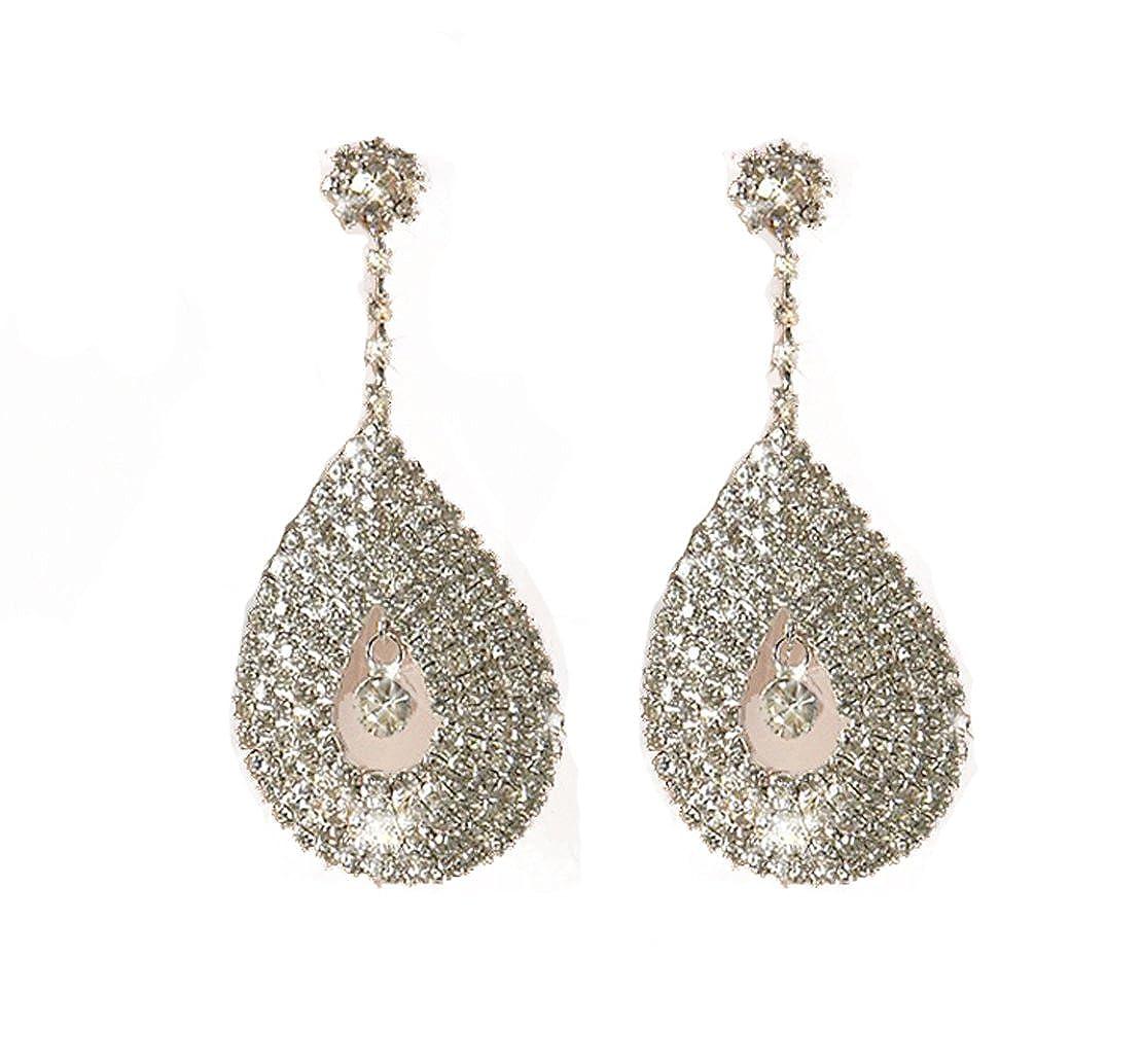 25502f91f90 Bling Bling Diamante Earrings FAB Tear Drop Clear Crystal Dangle Earrings