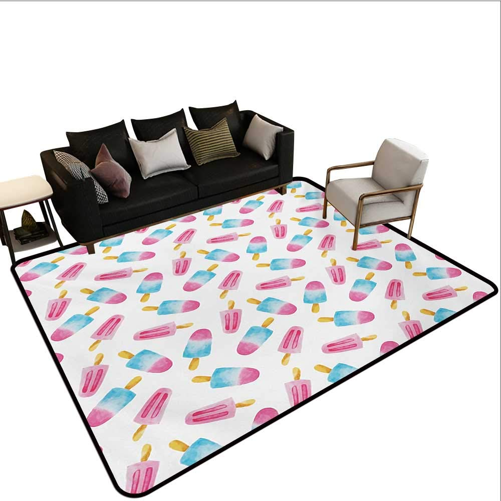 Household Decorative Floor mat,Pattern with Refreshing Watercolor Popsicles on White Background 6'6''x8',Can be Used for Floor Decoration
