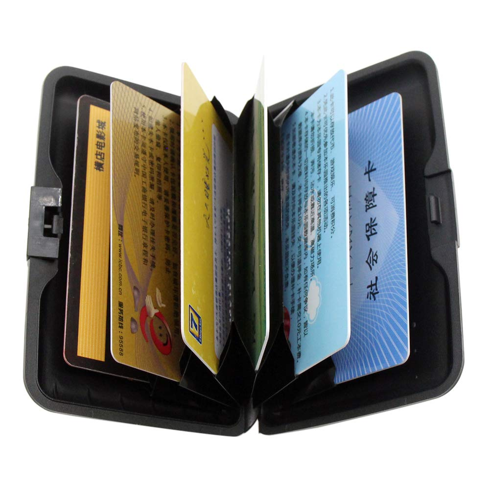 ee91d6291b42 RFID Blocking Credit Card Holder Case Protector Wallet Hard Slim Travel  Purse for Women with 6 Slots Portable Wallet
