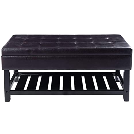 Cool Amazon Com Dark Brown Pu Leather Storage Bench Ottoman Machost Co Dining Chair Design Ideas Machostcouk