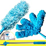 Extendable Microfiber Duster With 5ft Lightweight Extension Pole And Pivot Arm. Includes 2 Types of Washable Dusting Heads. Cobweb and Blind Cleaner Attachments Clean Ceiling Fans and Tight Spaces.