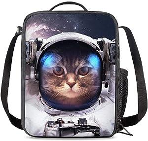 PrelerDIY Space Cat Lunch Box Food Bag Picnic Pouch Insulated Lunch Bag for Teenage Boys Girls School Beach