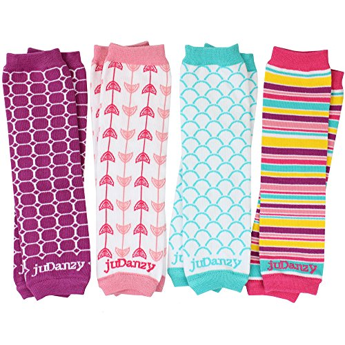 juDanzy 4-pack Organic baby & toddler leg warmers gift set for boys & girls (Newborn (up to 12 pounds), West coast - girls)