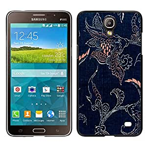 MOBMART Carcasa Funda Case Cover Armor Shell PARA Samsung Galaxy Mega 2 - Engraved Flowers On Blue