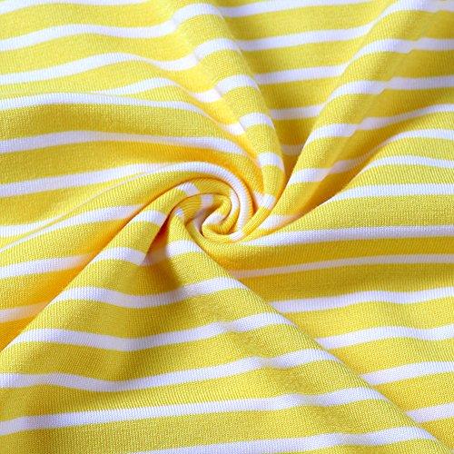 shirt Colore Manica Al Abito Donne Corta Ginocchio Sciolto Floreale lunghezza Di Vestito Strisce T Giallo Uideazone qnXSxXa1wH