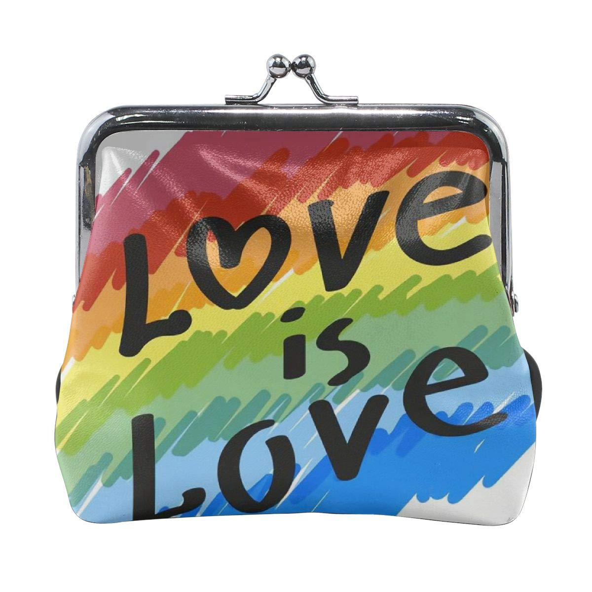 Rainbow Love Gay LGBT Graffiti Vintage Pouch Girl Kiss-lock Change Purse Wallets Buckle Leather Coin Purses Key Woman Printed