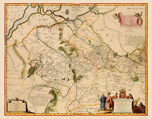 Old Eastern Europe Map - Ukraine - Hondius 1648 - 23 x 29.57 - Matte Art Paper