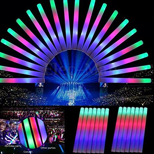30 Pieces LED Light Up Foam Sticks, 19 inches Multicolor Foam Baton, LED Foam Glow Sticks with 3 Modes Flashing for Party, Festival Supplies, Raves, Concert, Birthdays, Children Toy by MLTbRich