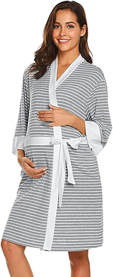 LHWY Premamá Invierno Leggins Abrigos Bata De Maternidad Raya Bata Entrega Camisones Hospital Bata De Lactancia Materna: Amazon.es: Ropa y accesorios