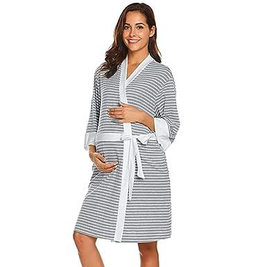 STRIR Premamá Pijama de Lactancia Estampado de Rayas para Mujer - Camiseta De Mujeres Ropa para