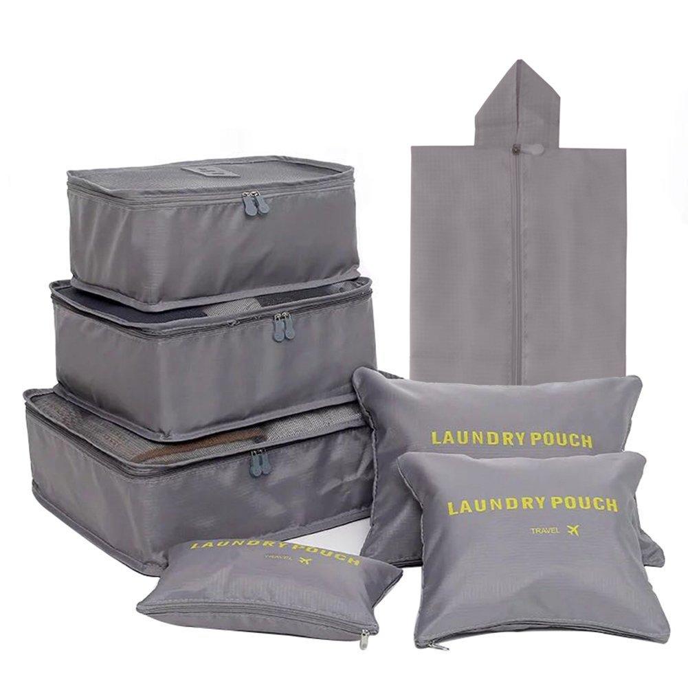 Set di borse da viaggio, 7pezzi, utilizzabile in valigia come sacchetto per biancheria, scarpe e cosmetici, Blau (Multicolore) - SN01-Lan
