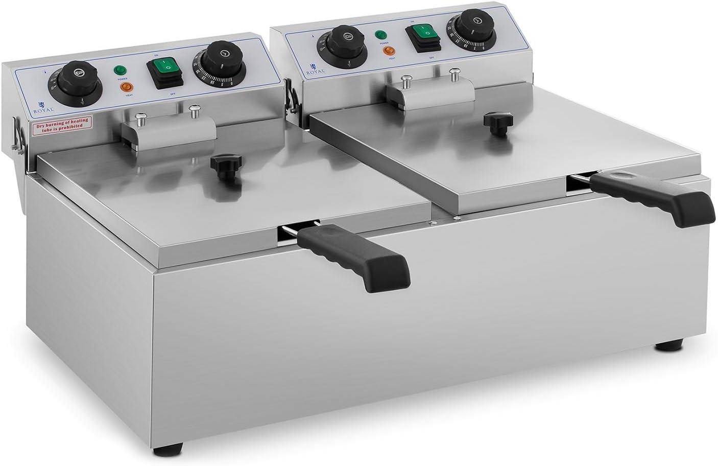 Royal Catering Freidora Eléctrica Doble Para Hostelería 2 x 10 Litros 230 V RCTF 10DB (2 x 3.200 W, Temporizador 60 Min, Temperatura: 50-200 °C)