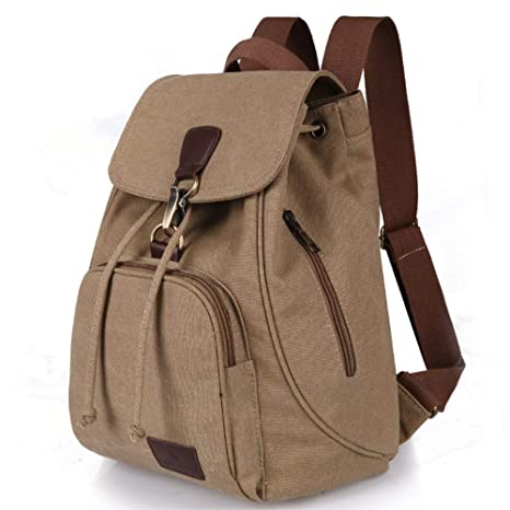 b7cb1a88af2f Amazon.com  Canvas Backpacks Women Girls Female Casual Style Lightweight  Backpack Preppy School Lady Girl Student Laptop Bag Business Travel (Khaki)   Garden ...