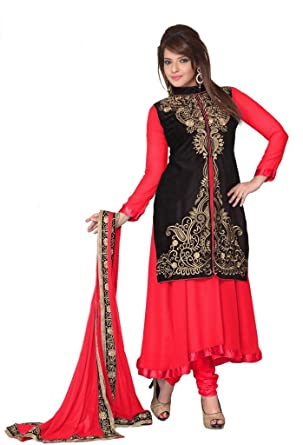 Georgette Red Color Embroidered Anarkali Suit With Koti Type Pattern