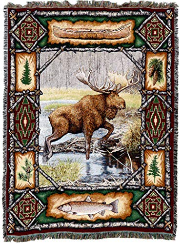 Pure Country Weavers - Moose Lodge Woven Tapestry Throw Blanket with Fringe Cotton USA 72x54