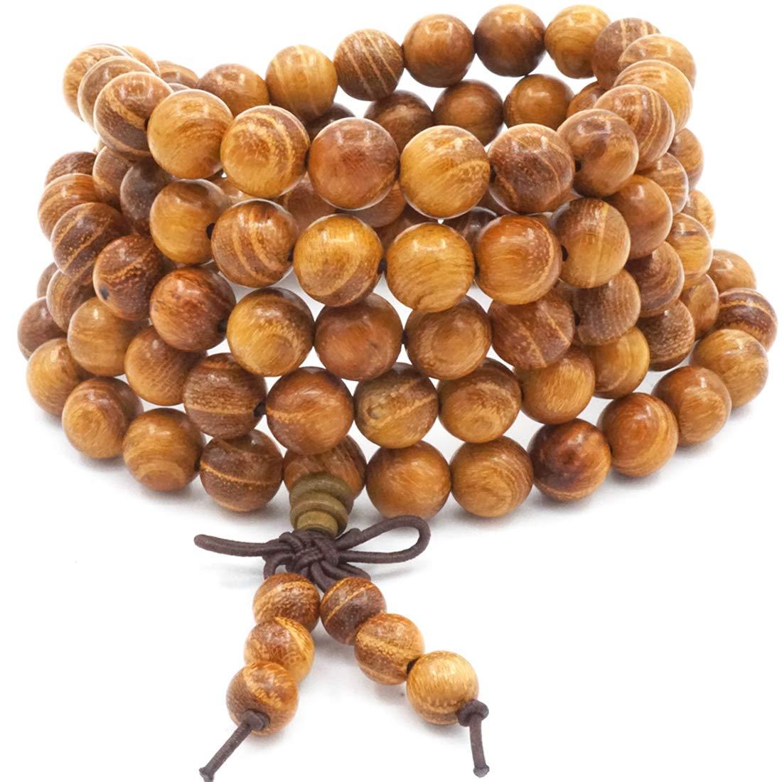 8MM 108 Prayer Beads Mala Bracelet, Natural Gold Wood Tibetan