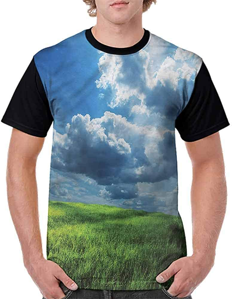 BlountDecor Cotton T-Shirt,Idyllic Freshening Grassland Fashion Personality Customization