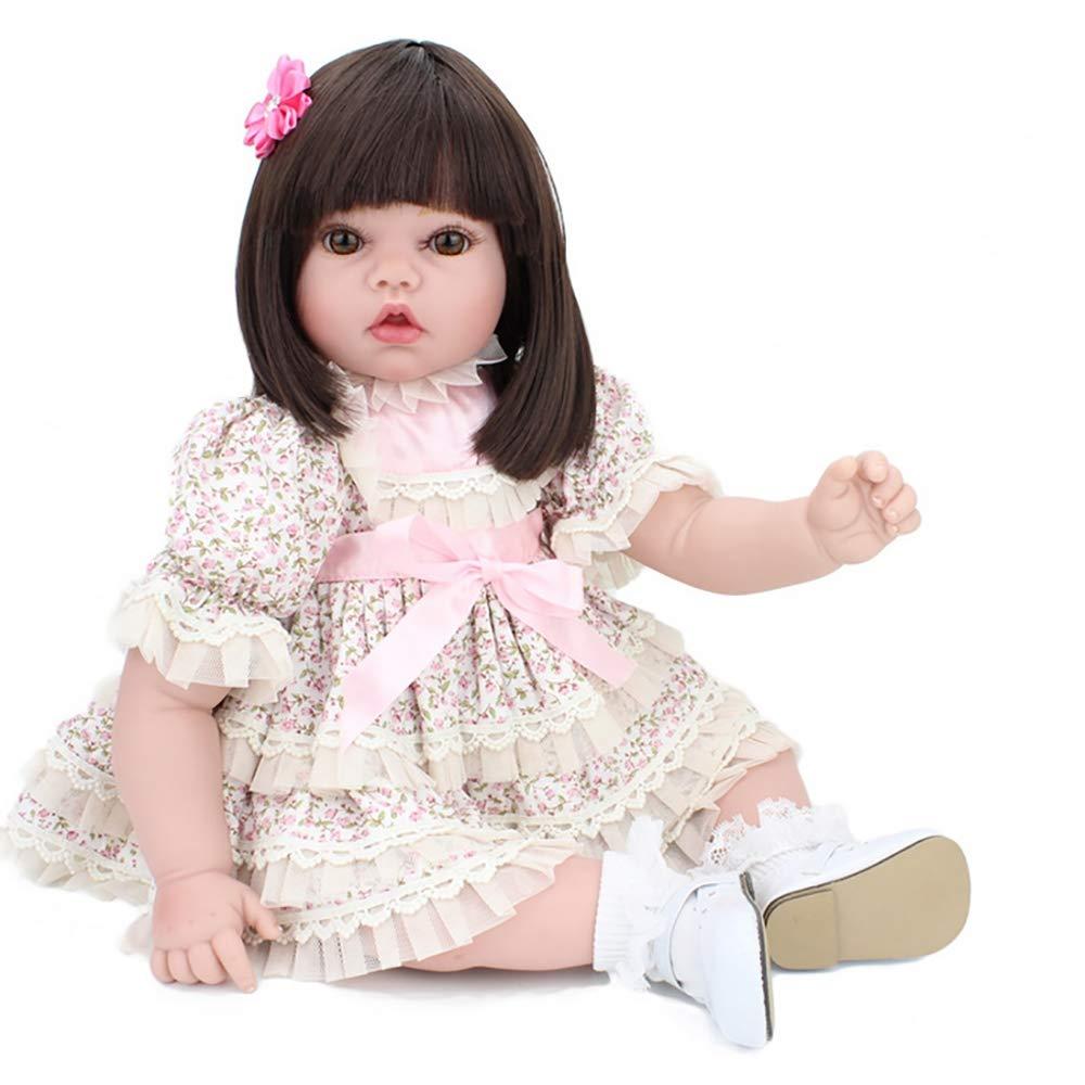 BABYY Wiedergeborenes Baby Doll Handgefertigt Umarmbar Puppe 50 cm Weißher Körper Schön Simulation Wiedergeboren Lebhaft Mädchen Gewichtet (Niedlicher Rock)