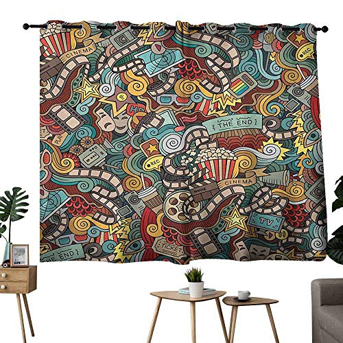 Mannwarehouse Doodle Polyester Curtain Cinema Items Combined in an Abstract Style Popcorn Movie Reel The End Theatre Masks 70%-80% Light Shading, 2 Panels,63