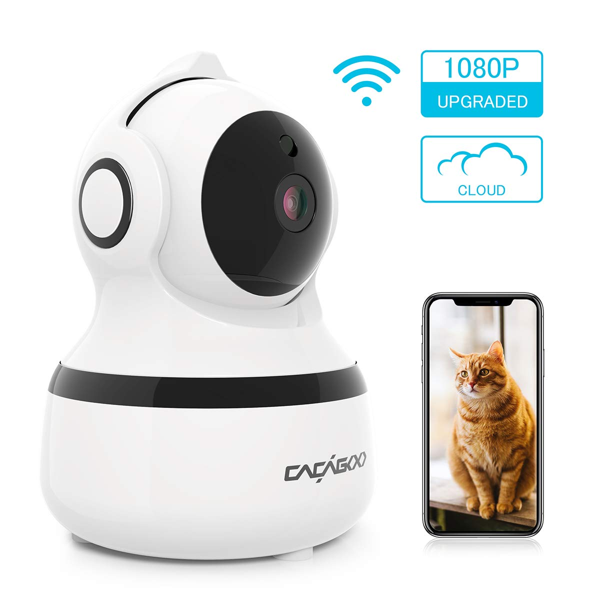 CACAGOO Video Baby Monitor, Security Wifi Camera 1080P Wireless IP Camera Indoor Home Dome Camera with IR Night Vision/Two-Way Audio, Cloud Storage by CACAGOO