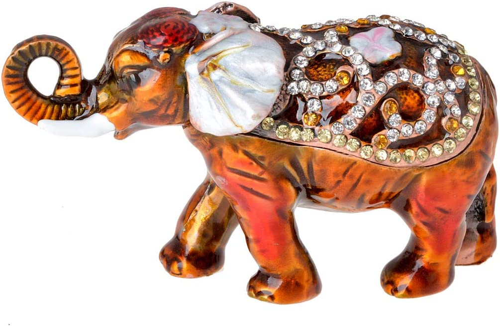 FZJ Brown Elephant Trinket Box Small Elephant Figurine Crystal Elephant Home Decor Elephant Gifts for Women & Men