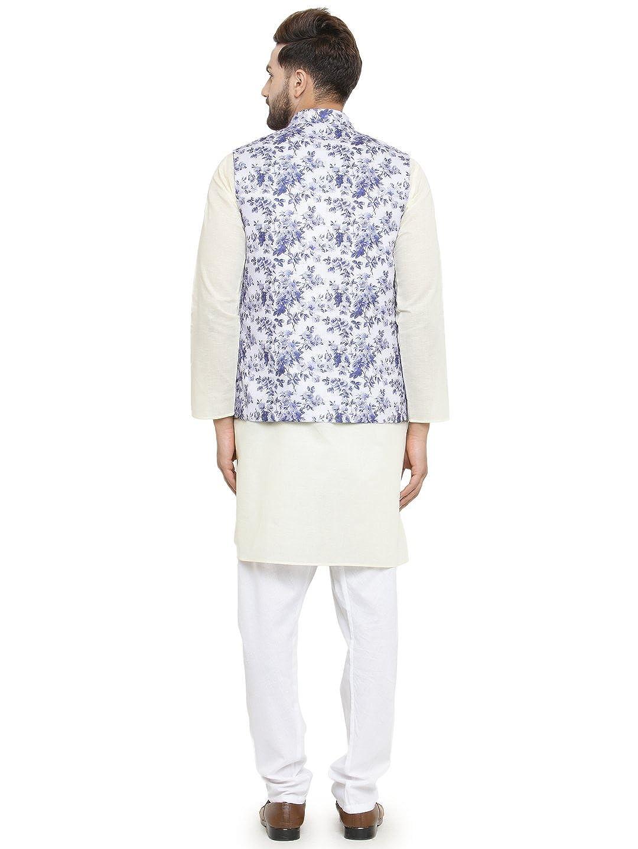 White Cotton Festive Kurta with Traditional Floral Design Jacket Set