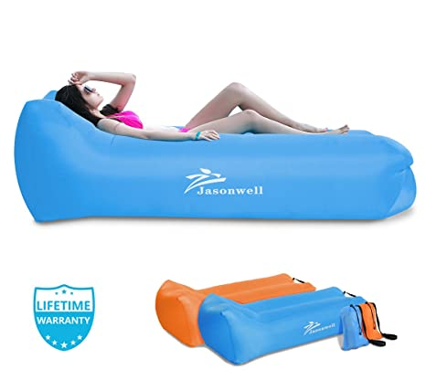 Jasonwell Inflatable Air Lounger Portable Wind Blow Up Pouch Sofa Lounge  Chair Air Bag Seat Hammock