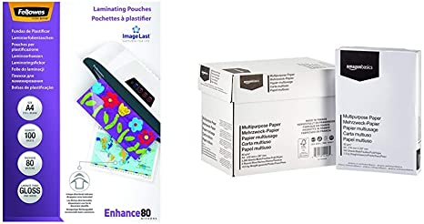 Fellowes 53061 - Pack de 100 fundas para plastificar, brillo ...