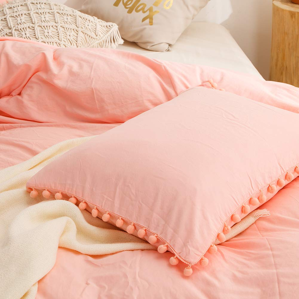 MOVE OVER Pink Pom Poms Pillow Case, Light Pink/Peach King Pillowcases Set of 2, 100% Washed Microfiber, Pink Girls Ball Fringe Pillow Shams 2 Pack (King, Pink/Peach) by MOVE OVER