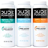 DUDE Body Powder Variety Pack, Tropic Breeze, Menthol Chill & Fragrance Free 4 Ounce (3 Bottle Pack) Natural Deodorizers…