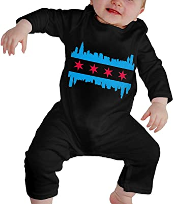 YELTY6F Chicago Flag Chicken-3 Printed Baby Boys Girls Jumpsuit Long Sleeve Rompers Black