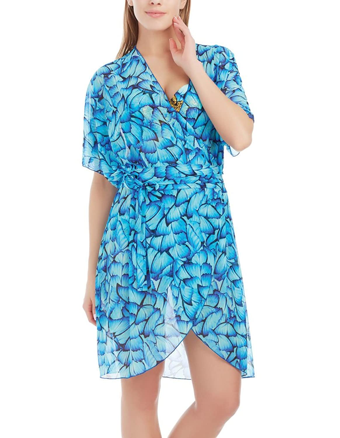 Marc and Andre CU17-02-1703 Women's Blue Butterfly Beachwear Cover Up
