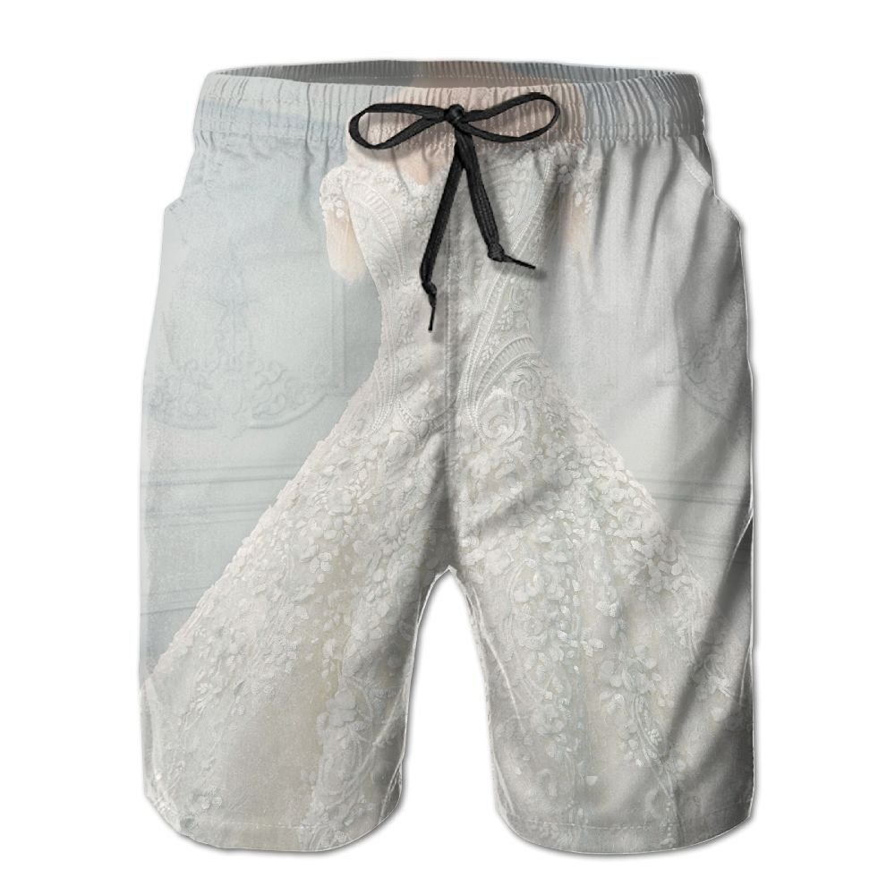 Richard-L Amazing Wedding Dress On A Mannequin Summer Quick Dry Board/Beach Shorts For Men XXL