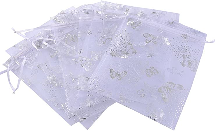 HooAMI 25pcs Pink Butterfly Organza Gift Bags Wedding Favour Bags Jewellery Pouches 7cm x9cm Small