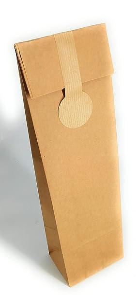 15 Bolsas kraft para botella de vino con etiqueta de cierre ...
