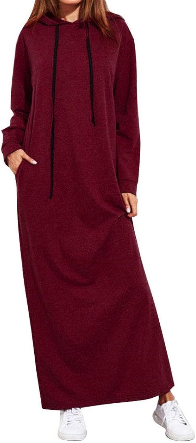 Moonuy Frauen mit Kapuze Lange Kleider, Damen Maxi Kleid Langarm