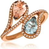 LeVian Ring Peach Morganite and Sea Blue Aquamarine Ring with White/Vanilla Diamonds 1.20 cttw Bypass/Cocktail Ring Band in 14K Rose Gold Size 7