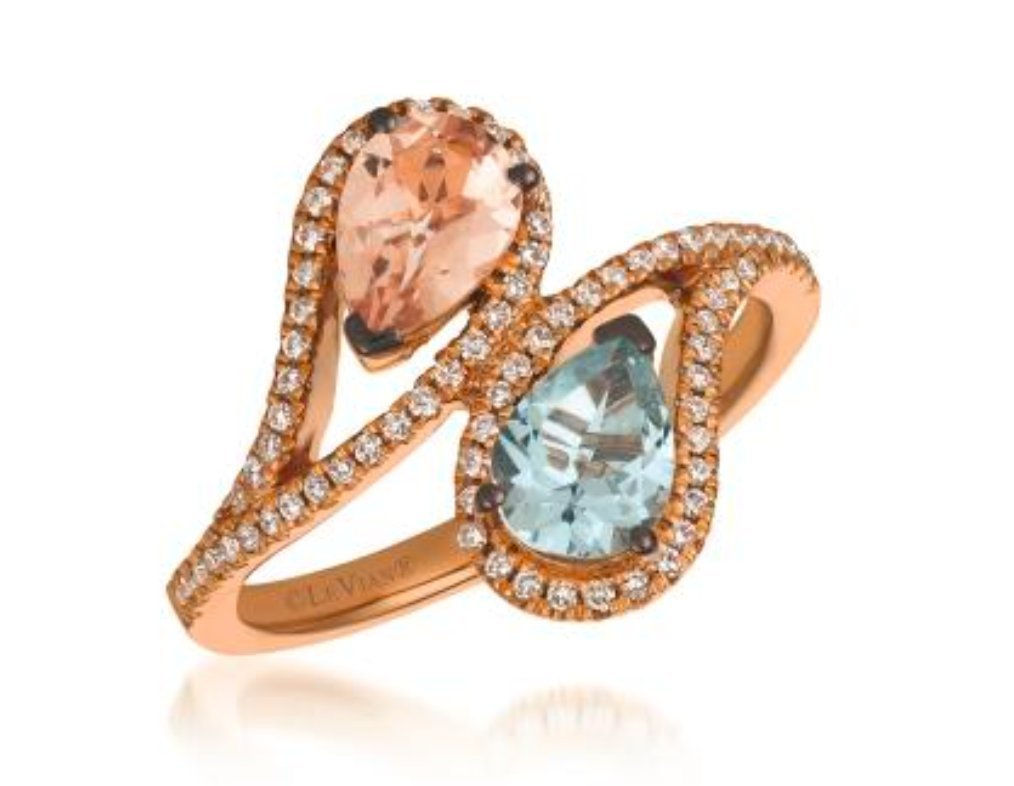 LeVian Ring Peach Morganite and Sea Blue Aquamarine Ring with White / Vanilla Diamonds 1.20 cttw Bypass / Cocktail Ring Band in 14K Rose Gold Size 7