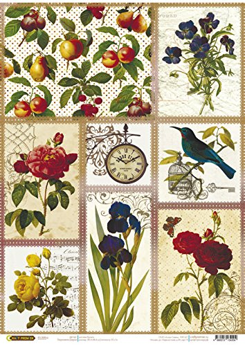 Sweet Birds Made in Russia Rice Paper for decoupage~ 11,1 x 15,11 inches