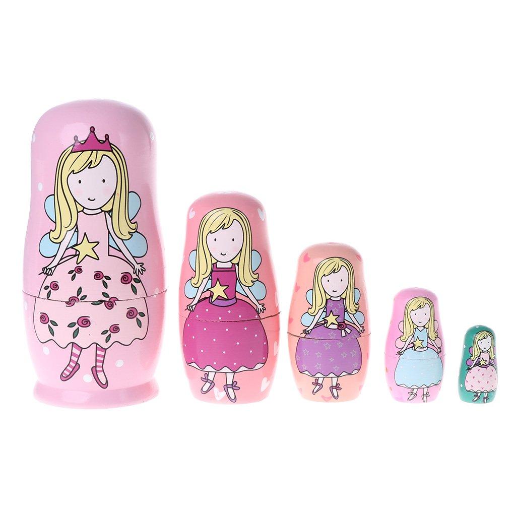 5 mu/ñecas rusas de Angel Princesa Runrain de madera Matryoshka mu/ñecas juguete para ni/ños