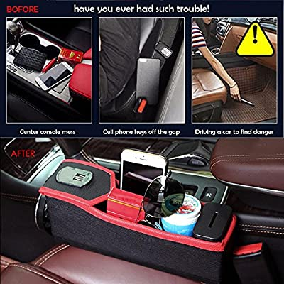 Ecloud Shop/® 1pcs Multifunctional Car Cup Holders Water Bottle Double Cup Mobile Phone Mount Holder for Cars Trucks Beige 3 in 1 Car Seat Gap Organizer Storage Box