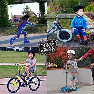 Crazy Loop Kids/Toddler Bike Helmet Certified Impact Resistance Ventilation for Bicycle Cycling Skateboarding Scooter Roller Skate Inline Rollerblading Longboard. Adjustable Straps. Boys/Girls. White : Sports & Outdoors